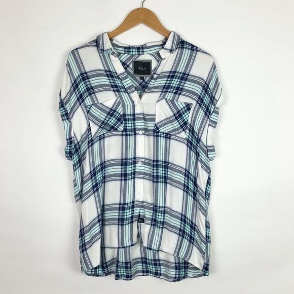416e962f7f36 Rails Tops   Britt Plaid Cap Sleeve Buttondown Shirt   Poshmark